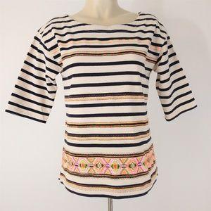 J. Crew Embroidered Striped T-Shirt Crew Neck Sz S